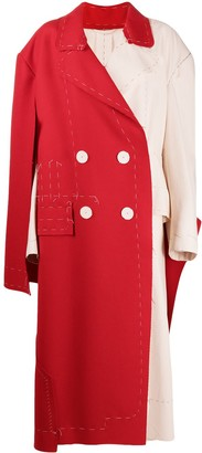 Maison Margiela Double-Breasted Two-Tone Coat