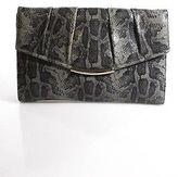 Furla Gray Snakeskin Pleated Clutch Handbag