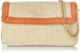 Buti Straw and Leather Clutch w/Shoulder Strap