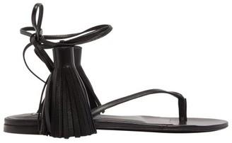 Jil Sander Tasselled Wraparound Leather Sandals - Womens - Black