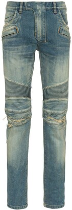 Balmain Stretch Denim Slim Biker Jeans
