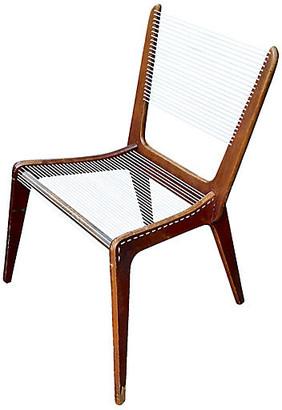 One Kings Lane Vintage MCM Jacques Guillon Cord Chair - Vermilion Designs