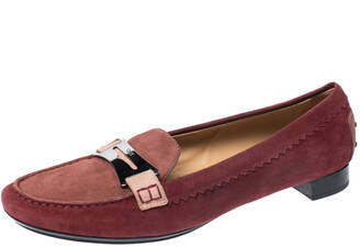 Tod's Red Suede Penny Loafers Size 40