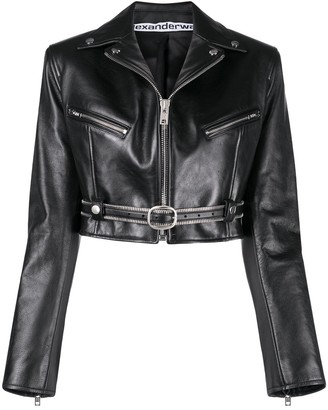 Alexander Wang Cropped Leather Biker Jacket