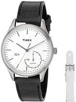 Timex Women's TWG013700 IQ+ Move Activity Tracker Black Leather Strap Smart Watch Set With Extra White Silicone Strap