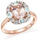 Bloomingdale's Morganite, Aquamarine and Diamond Ring in 14K Rose Gold - 100% Exclusive