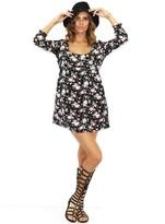 "Babydoll West Coast Wardrobe Floral 3/4"" Sleeve Dress in Black"