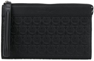 Salvatore Ferragamo Gancini embossed monogram clutch