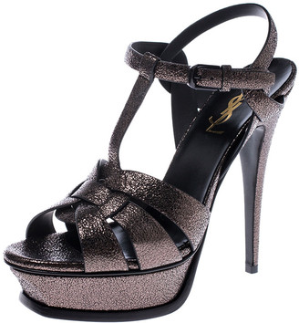 Saint Laurent Paris Metallic Grey Foil Leather Tribute Platform Ankle Strap Sandals Size 38