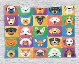 Ambesonne Dog Lover Decor Collection, Dog Breeds Profiles Pets Shepherd Terrier Labrador Domestic Animals Illustration, Bedroom Living Room Dorm Wall Hanging Tapestry, 60 X 40 Inches, Purple Green