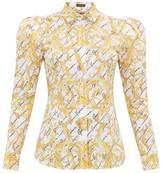 Versace Signature-print Cotton-poplin Shirt - Womens - White Multi