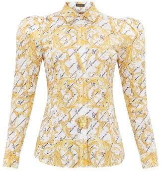 Versace Signature-print Cotton-poplin Shirt - White Multi