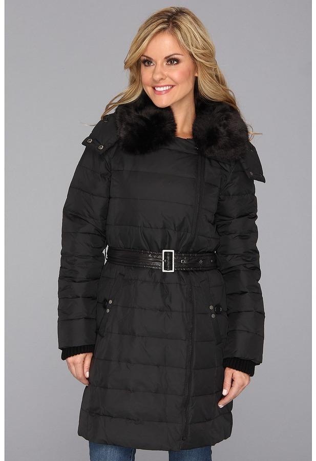 DKNY Three Quarter Asymetrical Faux Fur Trim Coat (Black) - Apparel