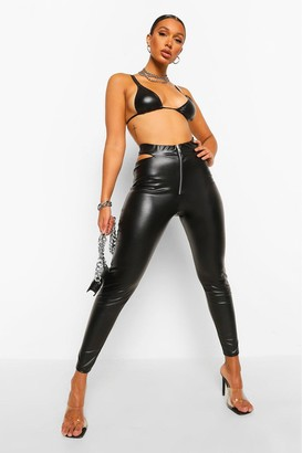 boohoo Zip Cut Out Leather Look Pu Legging