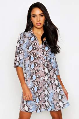 boohoo Woven Snake Tie Waist Shirt Skater Dress