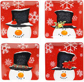 Certified International Top Hat Snowman Set of 4 Dinner Plates