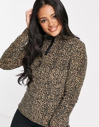 Protest Fuzzy 20 1/4 zip leopard fleece in brown