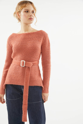J.o.a. Fuzzy Belted Sweater