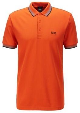 HUGO BOSS Cotton-pique polo shirt with logo undercollar