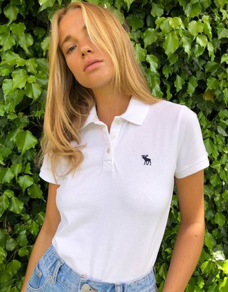 Abercrombie & Fitch logo polo shirt in white