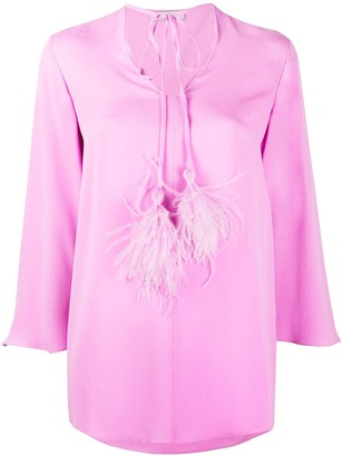 Valentino Flowing Ostrich Feather Detail Blouse