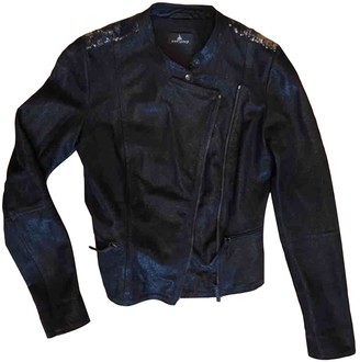 One Step Black Leather Leather Jacket for Women
