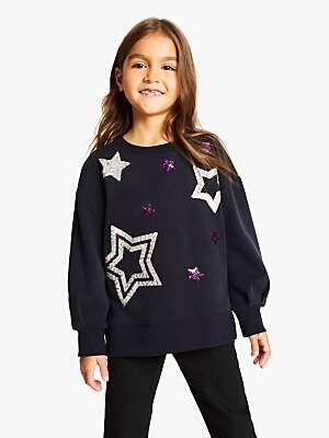 John Lewis & Partners Girls' Sequin Star Sweatshirt, Dark Grey