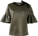 Fendi short bell sleeve blouse - women - polyester/Polyamide-8 - 40