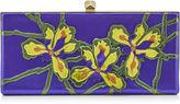 Jimmy Choo CELESTE Iris Leather Applique Clutch Bag with Cube Clasp
