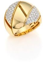 Roberto Coin Gourmette Pave Diamond & 18K Yellow Gold Ring