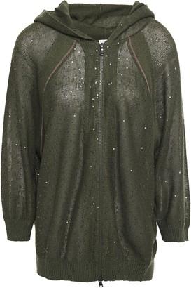 Brunello Cucinelli Embellished Linen And Silk-blend Hooded Cardigan