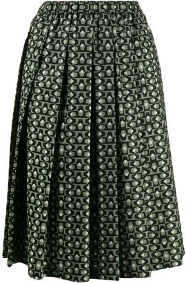 Aspesi Tile Print Pleated Skirt
