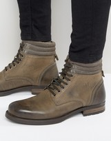 Asos Lace Up Boots In Gray Leather