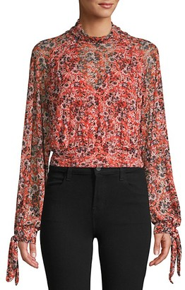 Free People Long-Sleeve Floral Blouse