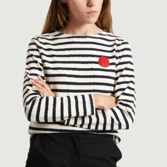 Loreak - Navy and Ecru Cotton Mariniere Dot T Shirt - cotton | Navy / Ecru | l