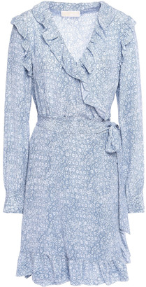 MICHAEL Michael Kors Ruffle-trimmed Printed Silk Mini Wrap Dress