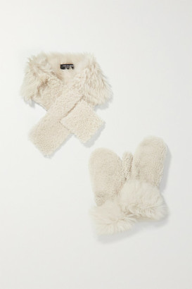 Yves Salomon Shearling Mittens And Scarf Set - Ivory