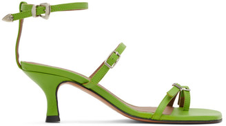 Abra Green Buckle Heeled Sandals