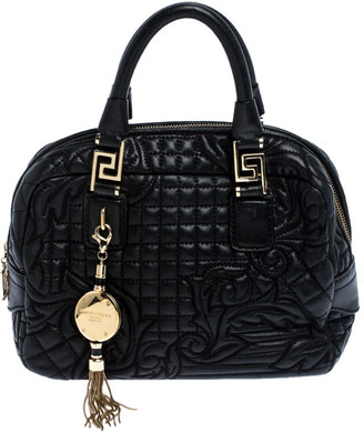 Versace Black Leather Demetra Vanitas Satchel