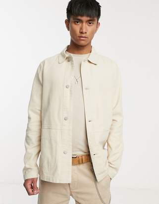 Asos Design DESIGN denim worker jacket in ecru-White