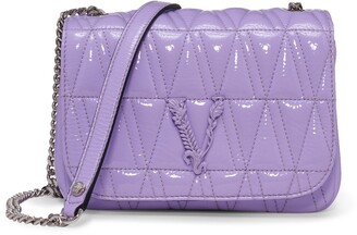 Versace First Line Versace Virtus Matelasse Patent Leather Shoulder Bag