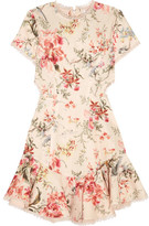 Zimmermann Mercer Lace-up Floral-print Linen And Cotton-blend Mini Dress - Cream