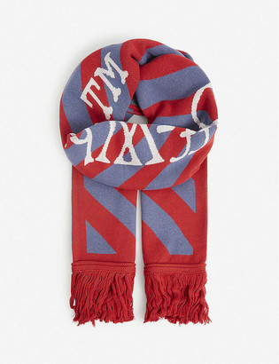 Off-White Logo-intarsia knitted scarf