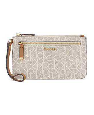 Calvin Klein Key Item Top Zip Monogram Wristlet Clutch