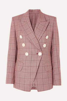 Petar Petrov Double-breasted Checked Wool And Mohair-blend Blazer - Red