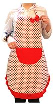 Apron - TOOGOO(R)Bow lace Apron kitchen Antifouling oil-proof apron white red spots