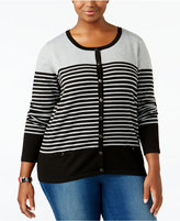 Karen Scott Plus Size Striped Cardigan, Only at Macy's