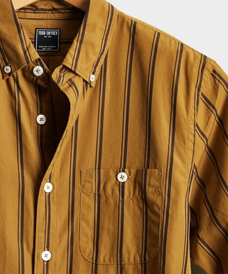 Todd Snyder Button Down Double Stripe Shirt in Gold