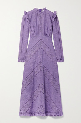 Zimmermann Brighton Paneled Cotton-blend Lace Midi Dress - Lilac