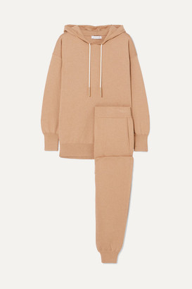 Olivia von Halle Gia Shanghai Silk And Cashmere-blend Hoodie And Track Pants Set - Beige
